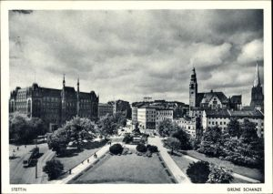 Ak Szczecin Stettin Pommern, Grüne Schanze, Denkmal