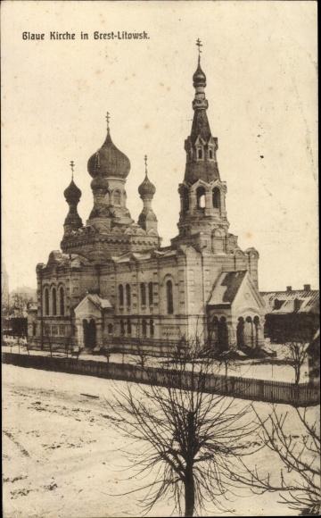 Ak Brest Litowsk Weißrussland, Blaue Kirche, Winter