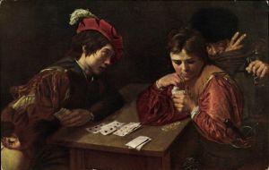 Künstler Ak Michelangelo, Der Falschspieler, Jungen beim Kartenspiel