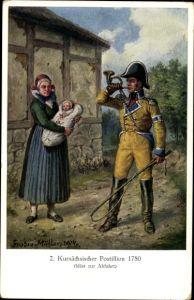 Künstler Ak Müller, Gustav, Kursächsischer Postillion 1780 bläst zur Abfahrt, Frau mit Baby