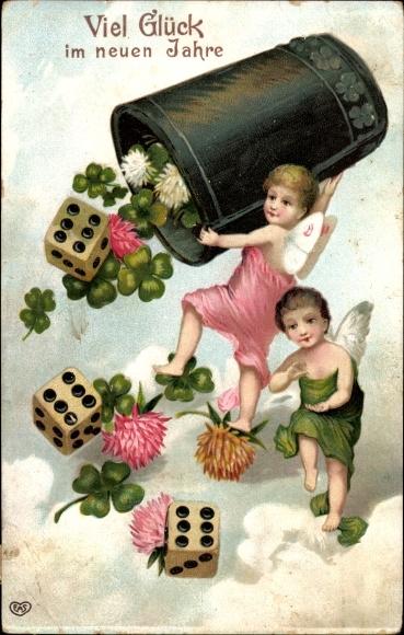 Präge Ak Glückwunsch Neujahr, Engel mit Würfelbecher, Würfel, Kleeblätter und Blüten, EAS