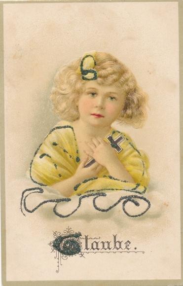 Glitzer Präge Litho Glaube, Allegorie, Mädchen mit Kreuz