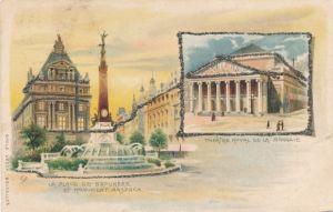 Glitzer Litho Bruxelles Brüssel, La Place de Broukere, Monument Anspach, Theatre Royal de la Monnaie