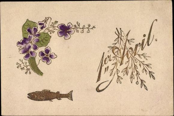 Präge Litho 1. April, 1er Avril, Fisch, lila Veilchenblüten