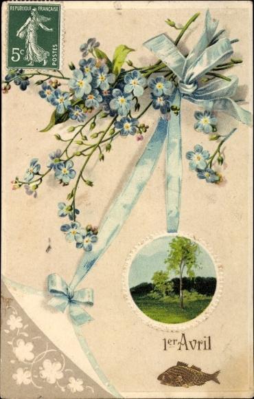 Präge Litho 1. April, 1er Avril, Fisch, Vergissmeinnichtblüten, Landschaftsansicht