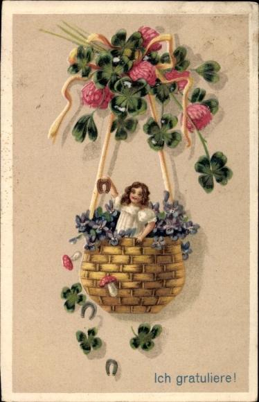 Präge Litho Glückwunsch sonstige, Ich gratuliere, Kind in einem Korb, Hufeisen, Kleeblätter, Pilze