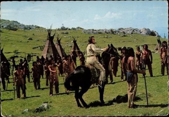 Ak Schauspieler Pierre Brice, Filmszene Winnetou II. Teil, Indianer