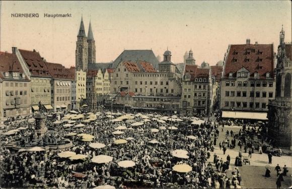 Ak Nürnberg in Mittelfranken Bayern, Marktleben auf dem Hauptmarkt