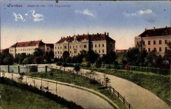 Ak Zwickau in Sachsen, Blick auf die Kaserne des 133. Regiments