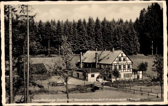 Ak Neudorf Sehmatal im Erzgebirge, Blick auf die Jugendherberge Chemnitzer Wanderheim