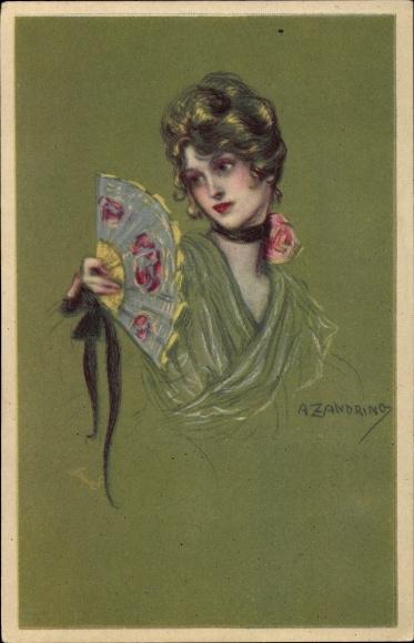 Künstler Ak Zandrino, A., Junge Frau mit Fächer