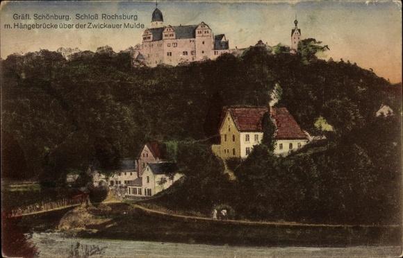 Ak Lunzenau in Sachsen, Blick zum Schloss Rochsburg, Hängebrücke über Zwickauer Mulde
