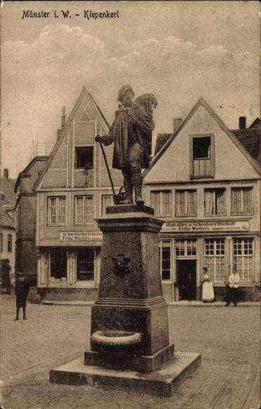 Ak Münster in Westfalen, Partie am Kiepenkerl, Statue