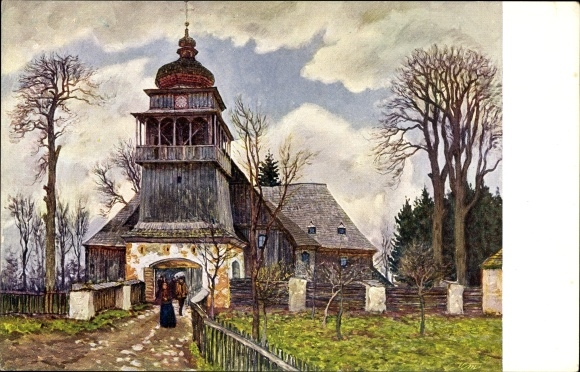 Künstler Ak Malý, V., Slowakei, Paludza, Anwohner beim Verlassen der Kirche