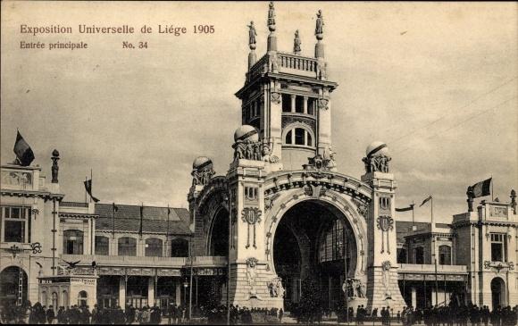 Ak Liège Lüttich Wallonien, Exposition Universelle 1905, Entrée principale, Haupteingang