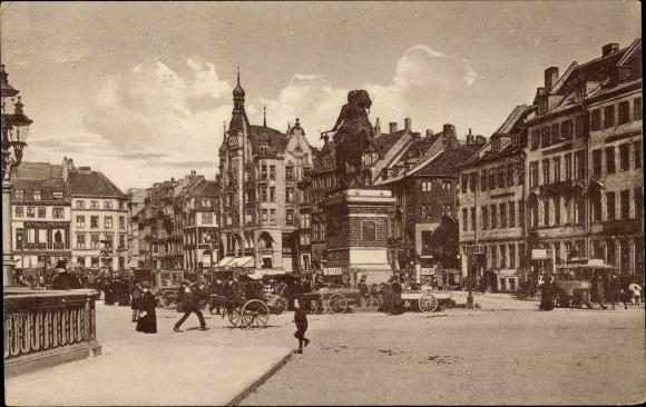 Ak København Kopenhagen Dänemark, Højbroplads med Absalons Statue, Platz, Denkmal