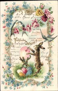 Präge Glückwunsch Ostern, Osterhase bemalt Ostereier, Schwalben