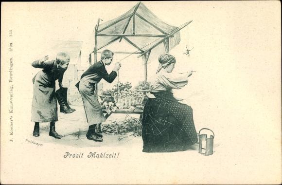 Ak Prosit Mahlzeit, Zwei Jungen spielen Frau einen Streich, Frosch an einer Schnur