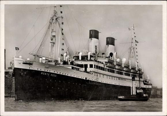 Ak Dampfschiff MS Monte Sarmiento, HSDG, Ansicht Bug Backbord