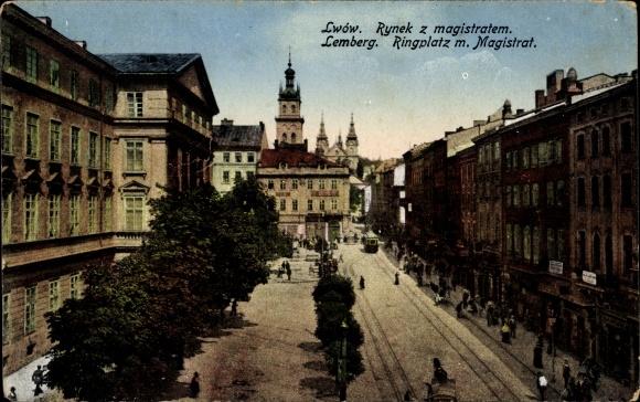 Ak Lwów Lemberg Ukraine, Rynek z magistratem, Ringplatz mit Magistrat