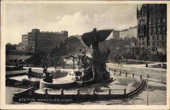 Ak Szczecin Stettin Pommern, Manzelbrunnen, Straßenpartie