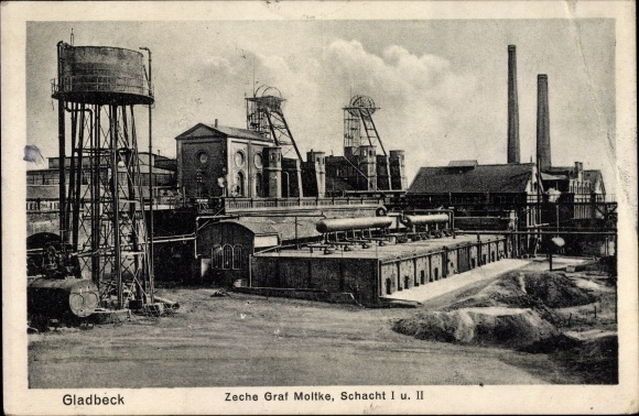Ak Gladbeck im Ruhrgebiet Nordrhein Westfalen, Zeche Graf Moltke, Schacht I u. II