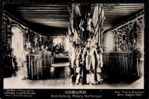 Ak Coburg in Oberfranken, Veste Coburg, Ritter und Waffensaal