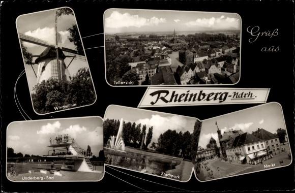Ak Rheinberg in Nordrhein Westfalen, Windmühle, Underberg Bad, Stadtpark, Markt, Teilansicht vom Ort