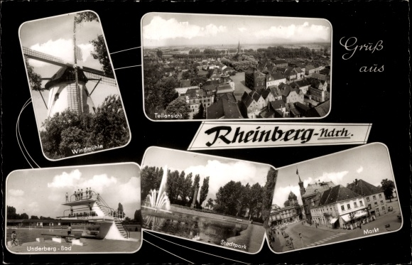 Passepartout Ak Rheinberg in NRW, Teilansicht, Windmühle, Underberg Bad, Markt, Stadtpark