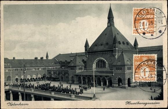 Ak København Kopenhagen Dänemark, Hovedbanegard, Blick auf den Hauptbahnhof