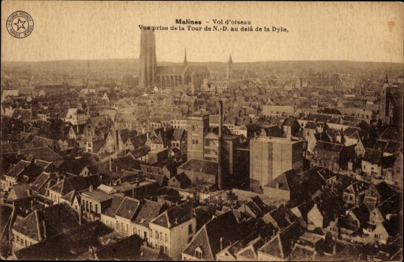 Ak Mechelen Malines Flandern Antwerpen, Vue prise de la Tour de N. D. au delà de la Dyle
