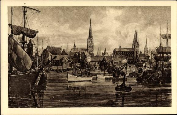 Ak Lübeck in Schleswig Holstein, Hafenansicht, Kirchen, Stadt