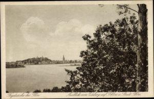 Ak Fehgetasche Plön in Schleswig Holstein, Ausblick vom Edeberg auf Schloss und Stadt