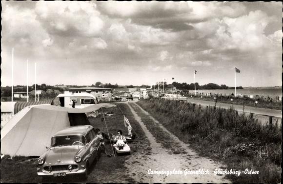 Ak Glücksburg in Schleswig Holstein, Campingplatz Grenzblick, Auto NT 50 518