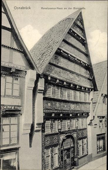Ak Osnabrück in Niedersachsen, Renaissance Haus an der Bierstraße