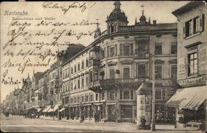 Ak Karlsruhe in Baden Württemberg, Blick auf die Kaiserstraße nach Westen, Geschäfte, Friseur
