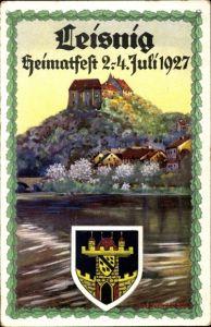 Wappen Künstler Ak Leisnig an der Freiberger Mulde Sachsen, Heimatfest 02-04. Juli 1927