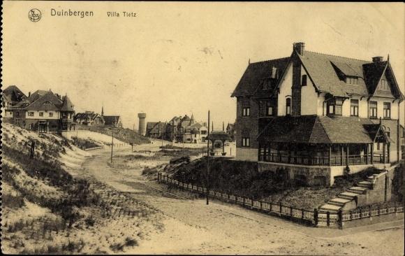 Ak Duinbergen Knokke Heist Westflandern, Villa Tietz, Straßenpartie im Ort
