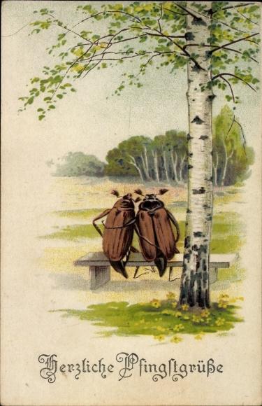 Ak Glückwunsch Pfingsten, Zwei Maikäfer auf einer Sitzbank