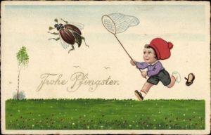 Ak Glückwunsch Pfingsten, Maikäfer, Junge mit Schmetterlingsnetz
