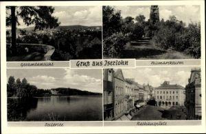 Ak Iserlohn im Märkischen Kreis, Bismarckturm, Rathausplatz, Seilersee, Totalansicht