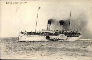 Ak Dampfschiff Cobra, HAPAG Seebäderdienst, Schnelldampfer