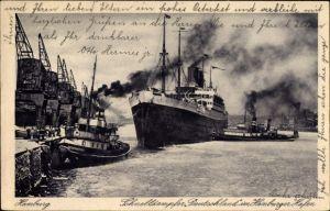 Ak Hamburger Hafen, Dampfschiff Deutschland, Schnelldampfer, HAPAG