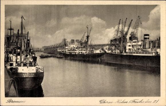 Ak Hansestadt Bremen, Überseehafen, Freihafen II, Schiffe