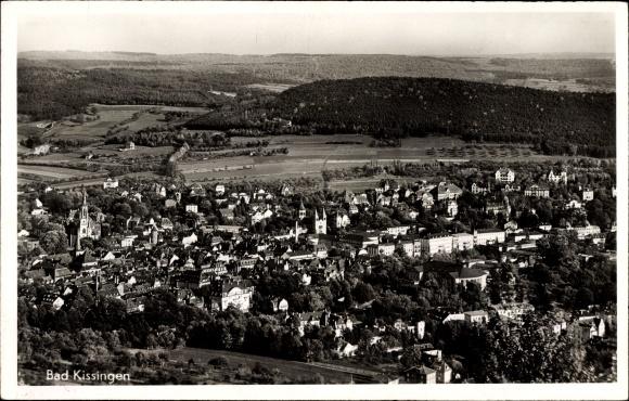 Ak Bad Kissingen Unterfranken Bayern, Panoramablick über die Stadt, Umgebung