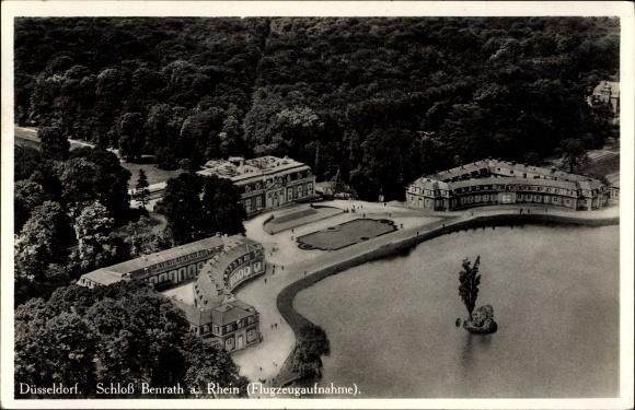 Ak Benrath Düsseldorf Nordrhein Westfalen, Fliegeraufnahme vom Schloss Benrath