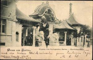 Ak Berlin Charlottenburg, Blick auf den Eingang zum Zoologischen Garten, Kurfürstendamm