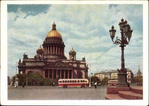 Ganzsachen Ak Leningrad Sankt Petersburg Russland, Isaakskathedrale, Straßenpartie