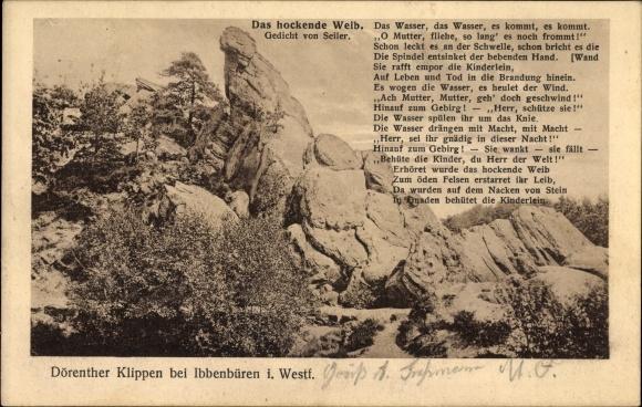 Ak Ibbenbüren im Tecklenburger Land, Dörenther Klippen, Das hockende Weib, Gedicht von Seiler