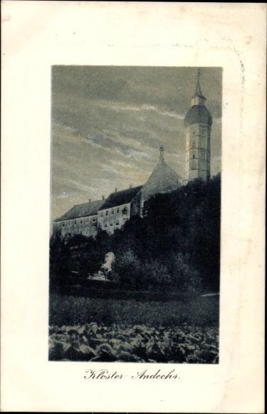 Präge Passepartout Ak Andechs Oberbayern, Blick auf das Kloster